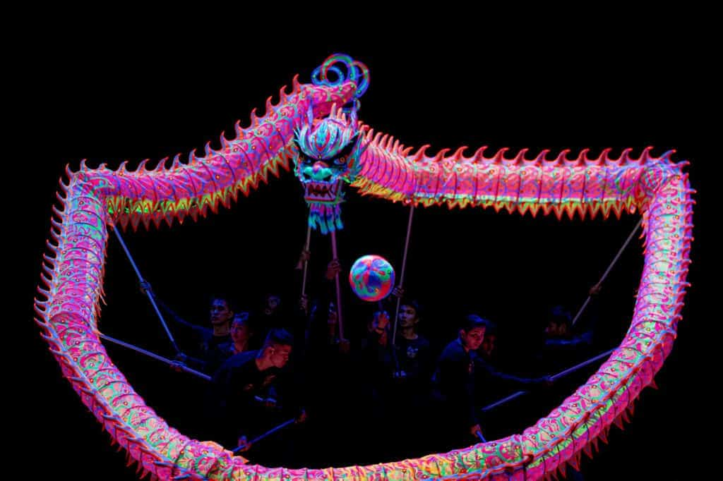 glowing dragon in a low light stage performance AJTaylor Images