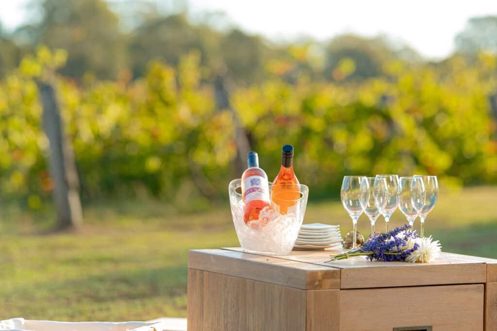Wine bottles at sunset bendigo stock photos